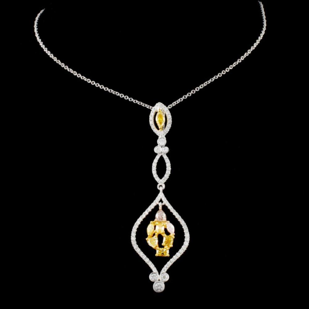 18K Gold 1.26ctw Fancy Color Diamond Pendant