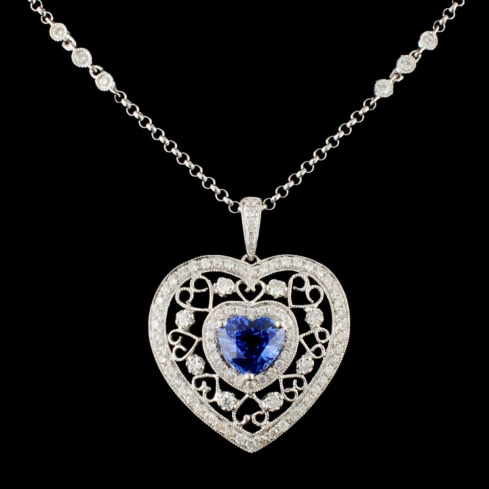 18K Gold 1.57ct Sapphire & 0.76ctw Diamond Necklac