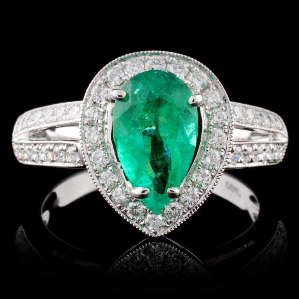 18K White Gold 1.24ct Emerald & 0.47ct Diamond Rin