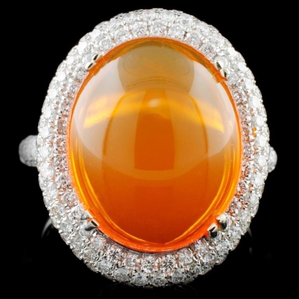 14K White Gold 6.74ct Opal & 1.30ct Diamond Ring