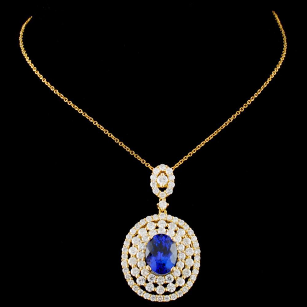 18K Gold 2.68ct Sapphire & 1.86ctw Diamond Pendant
