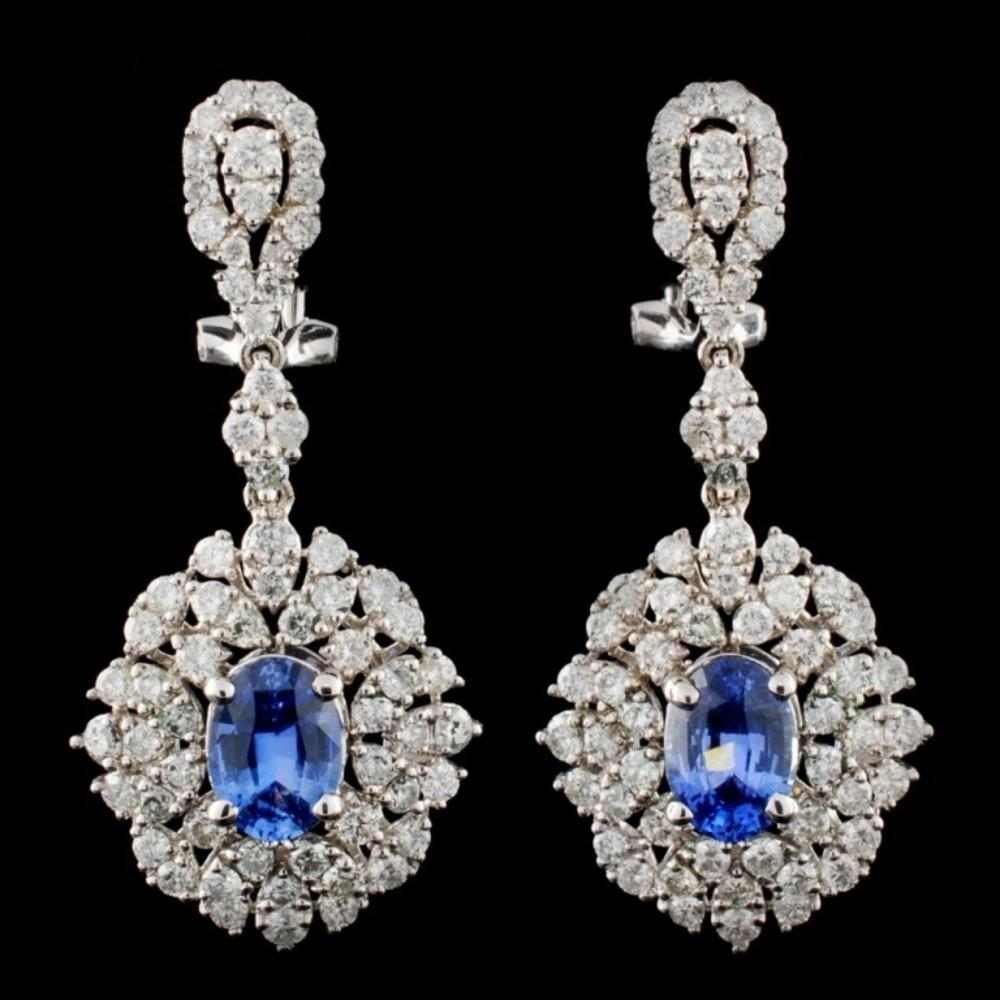 18K Gold 2.32ctw Sapphire & 2.72ctw Diamond Earrin