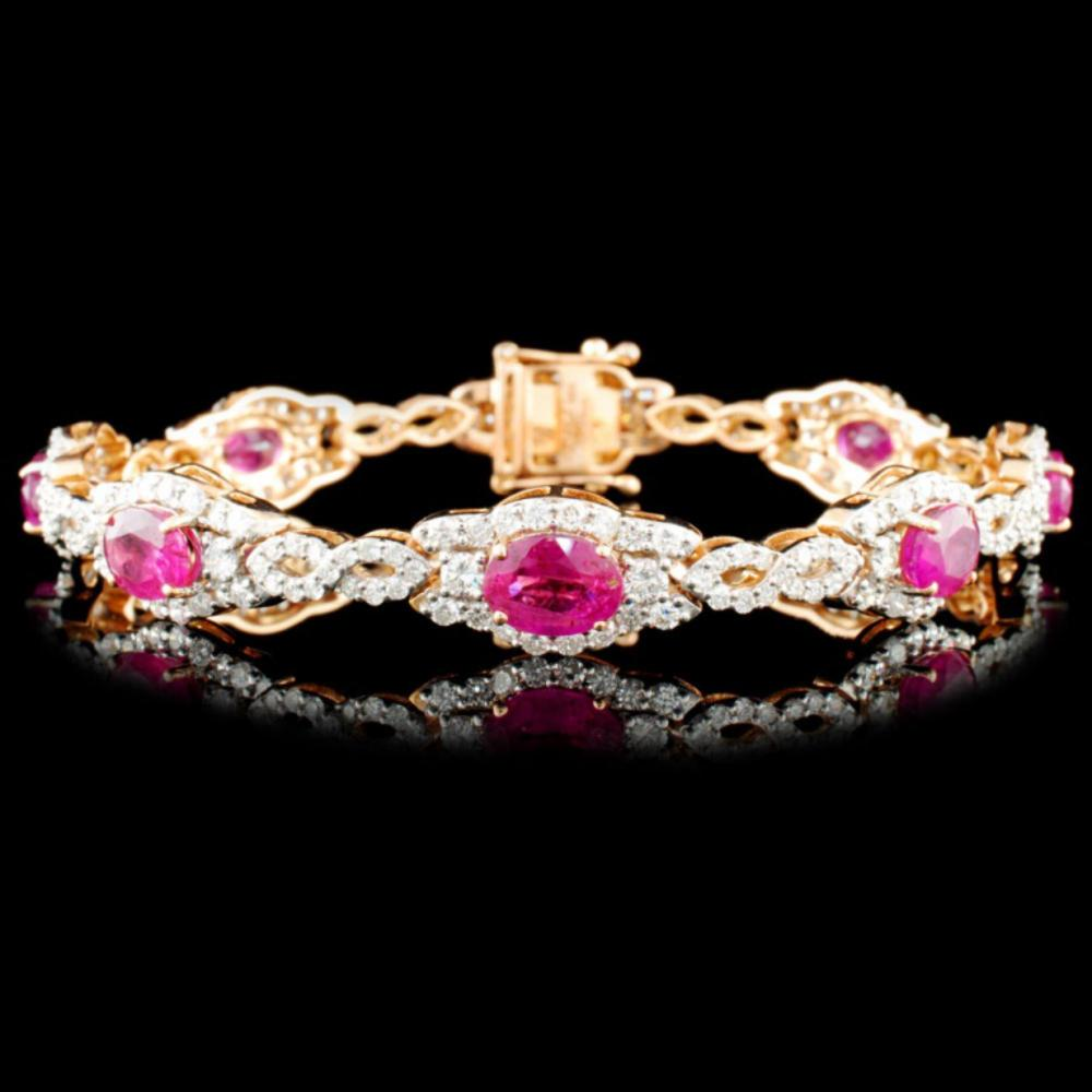 18K Rose Gold 6.69ct Ruby & 4.26ctw Diamond Bracel