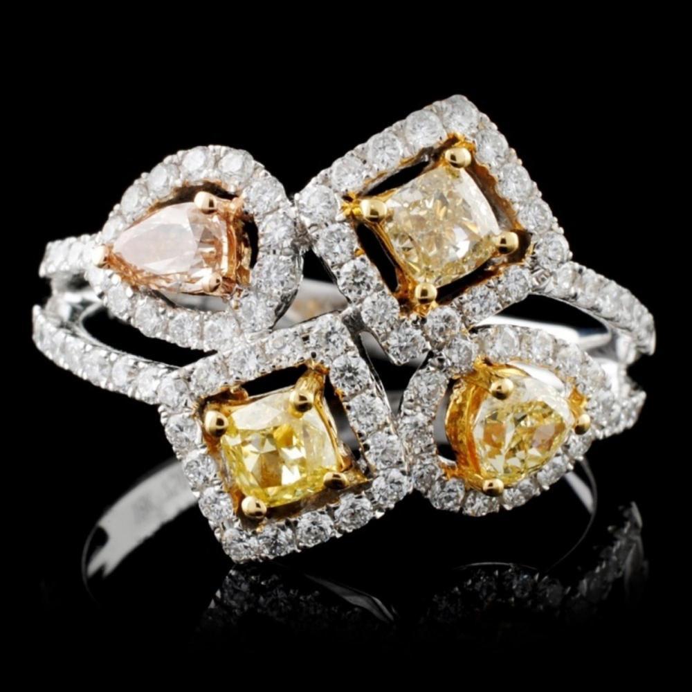 18K White Gold 1.14ctw Fancy Color Diamond Ring
