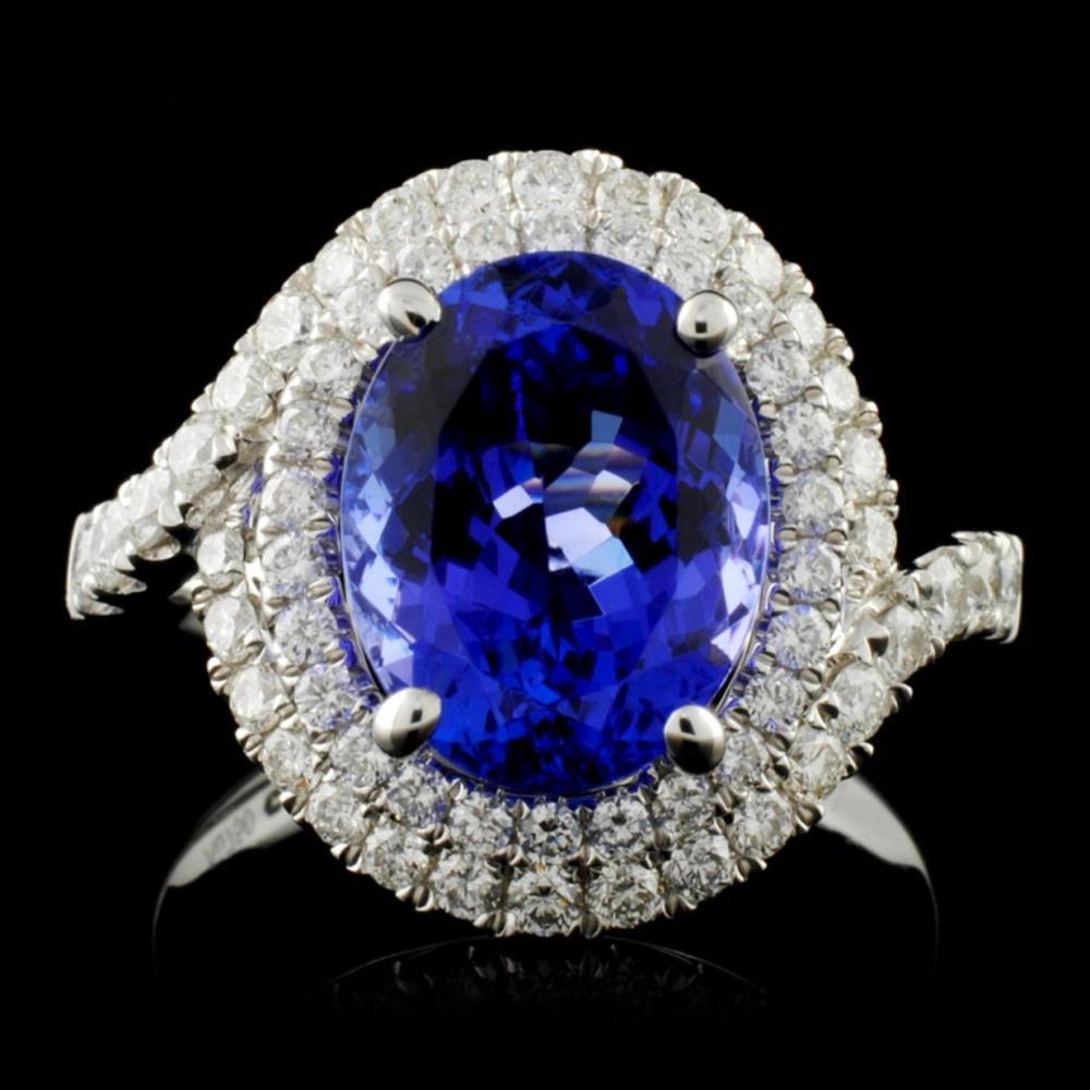 18K W Gold 3.70ct Tanzanite & 0.87ct Diamond Ring