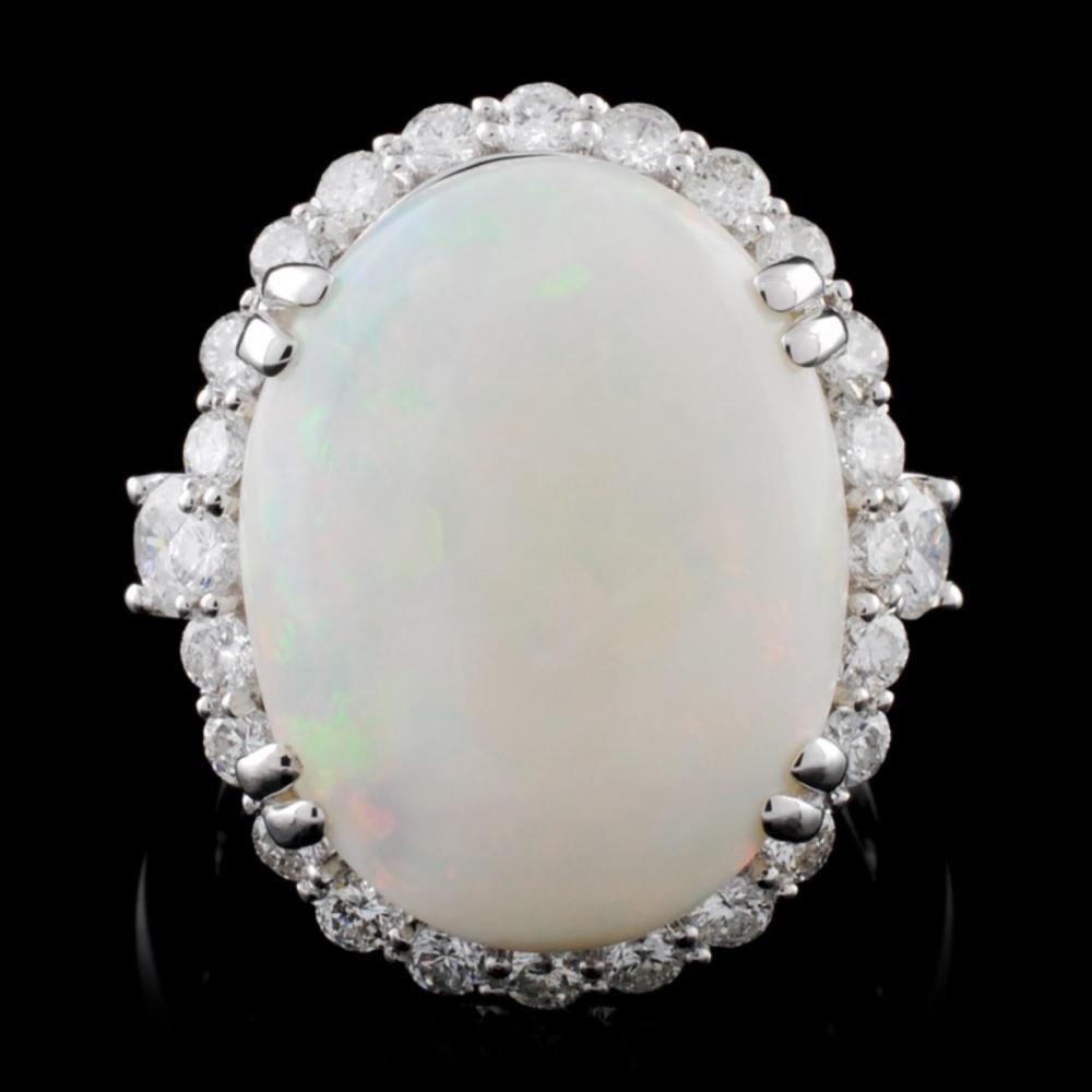 14K White Gold 4.89ct Opal & 1.05ctw Diamond Ring