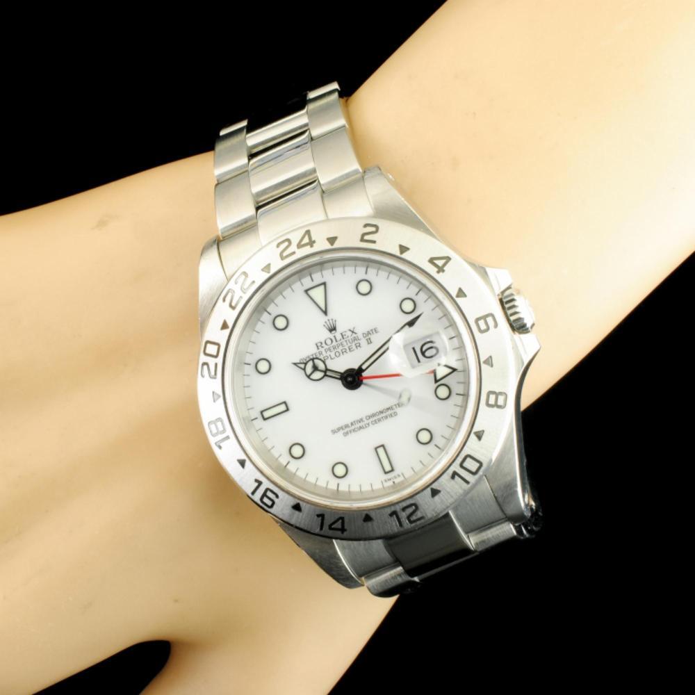 Rolex Explorer II Polar White SS 40MM Wristwatch