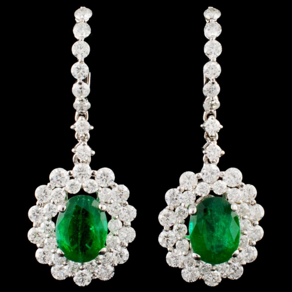 18K Gold 2.25ct Emerald & 2.28ctw Diamond Earrings