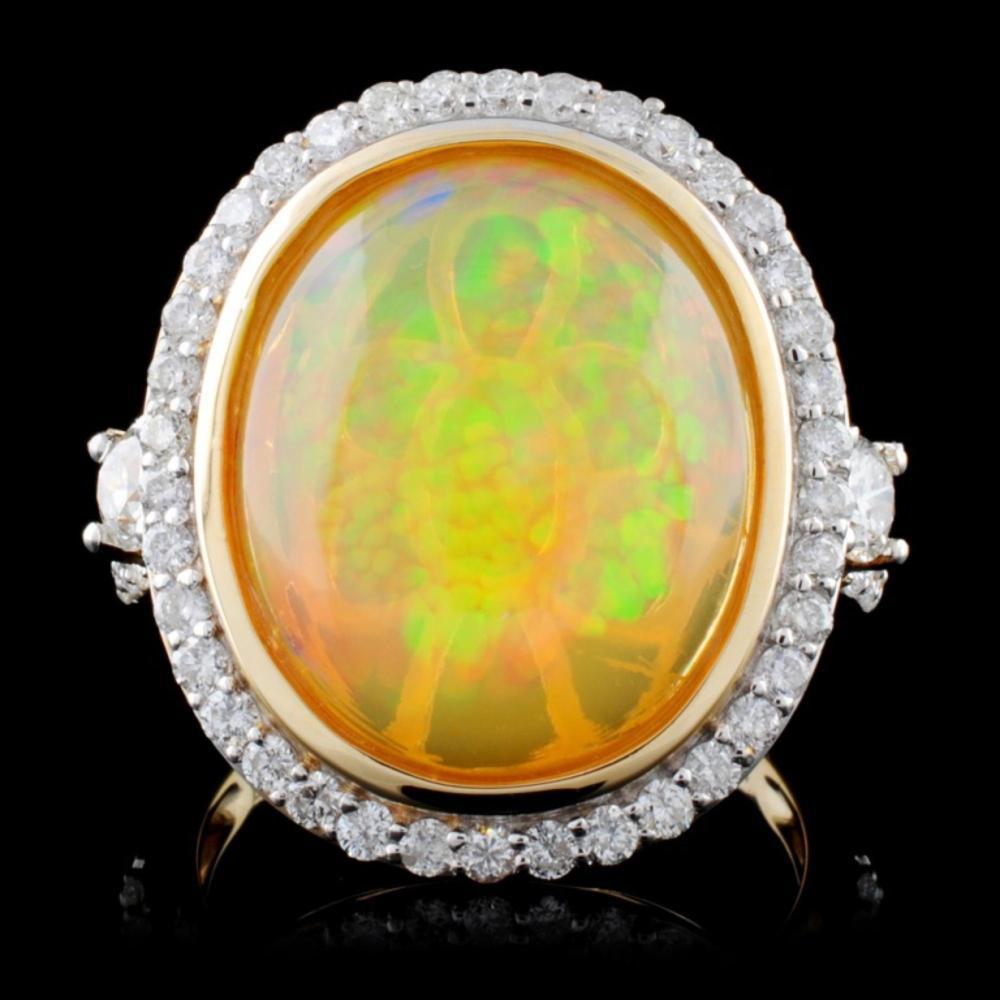 14K Yellow Gold 5.61ct Opal & 1.04ct Diamond Ring