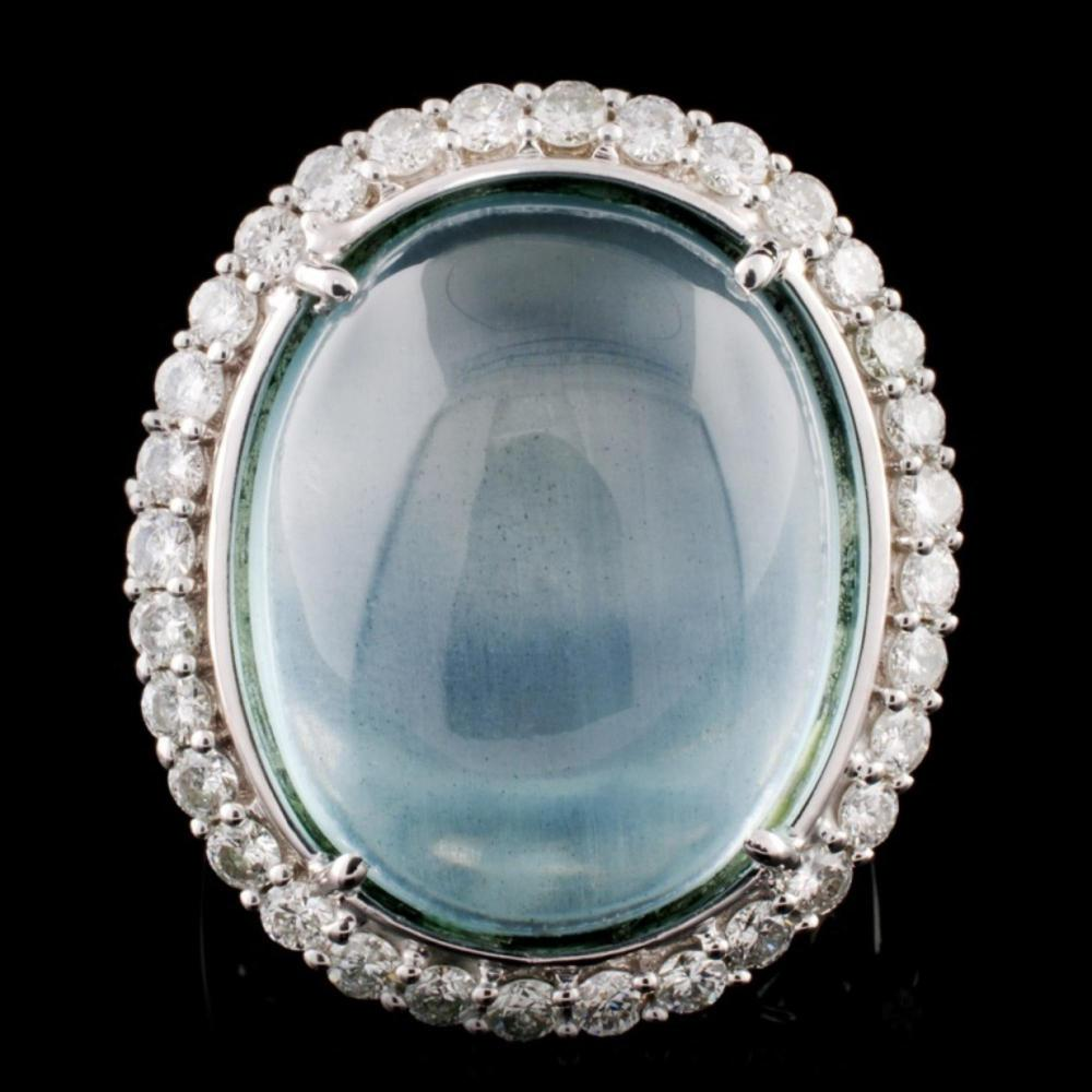 14KW Gold 22.30ct Aquamarine & 1.45ct Diamond Ring