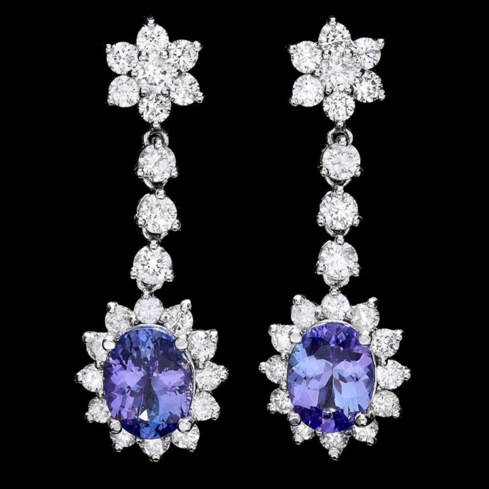 `14k Gold 4.00ct Tanzanite & 3.00ct Diamond Earrin