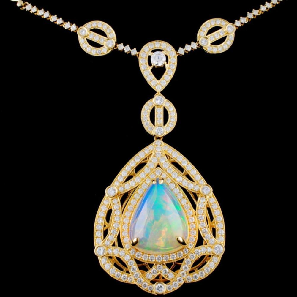 18K Gold 15.00ct Opal & 4.60ctw Diamond Necklace