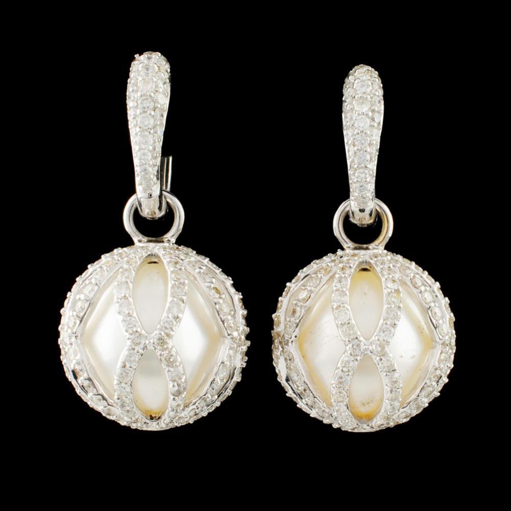 18K Gold 12.00MM Pearl & 2.50ctw Diamond Earrings
