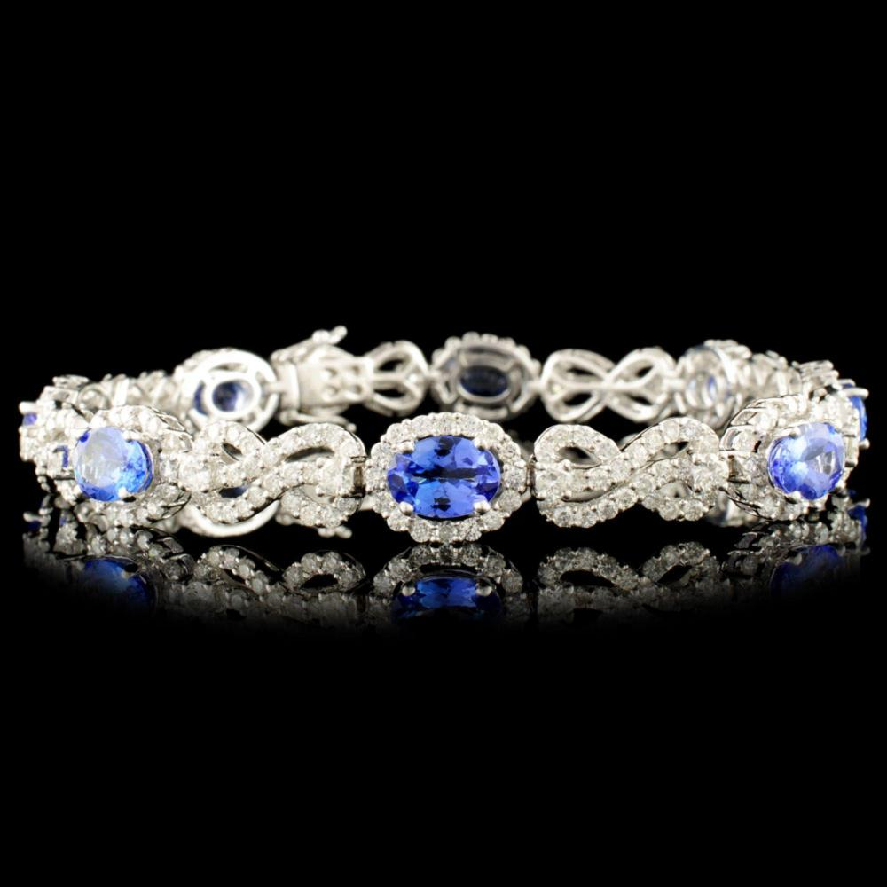 18K Gold 5.52ct Tanzanite & 4.38ctw Diamond Bracel