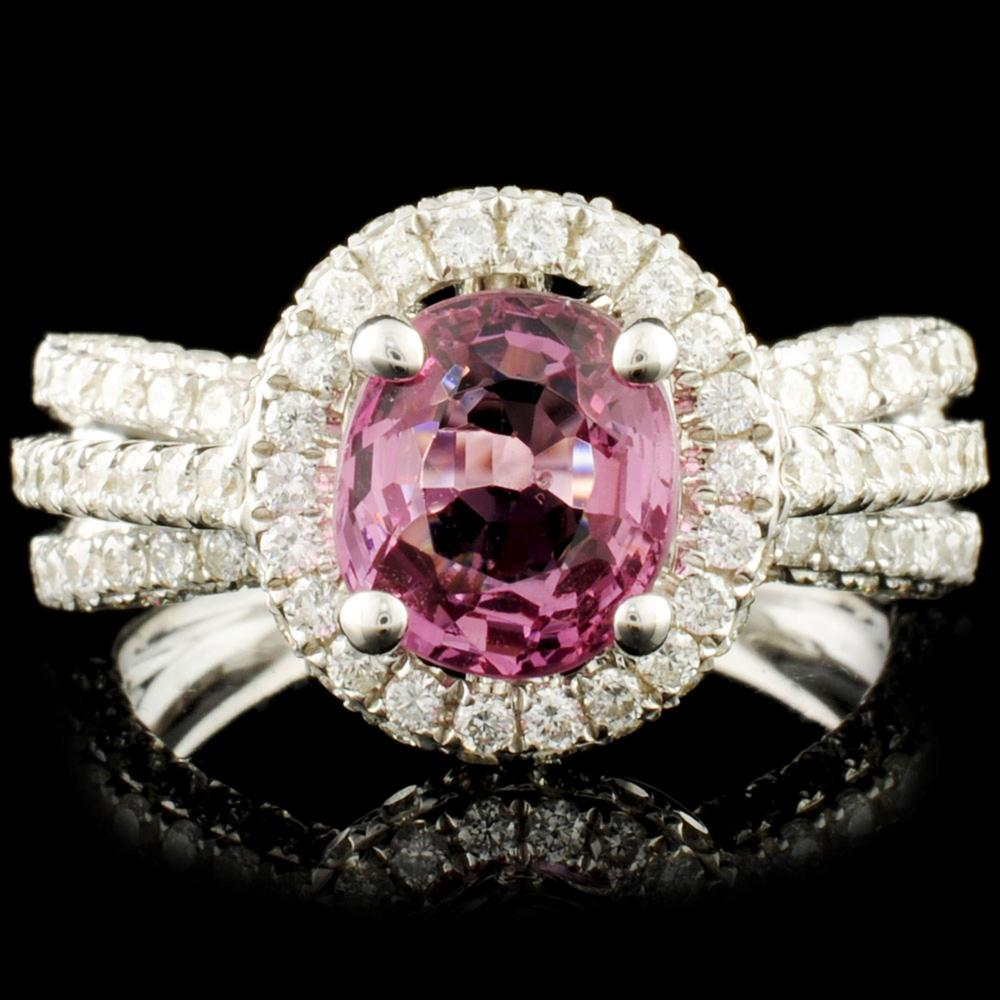 18K Gold 1.77ct Spinel & 1.29ctw Diamond Ring