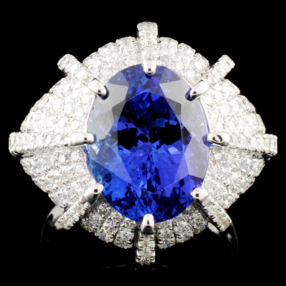 18K Gold 5.91ct Tanzanite & 1.96ctw Diamond Ring