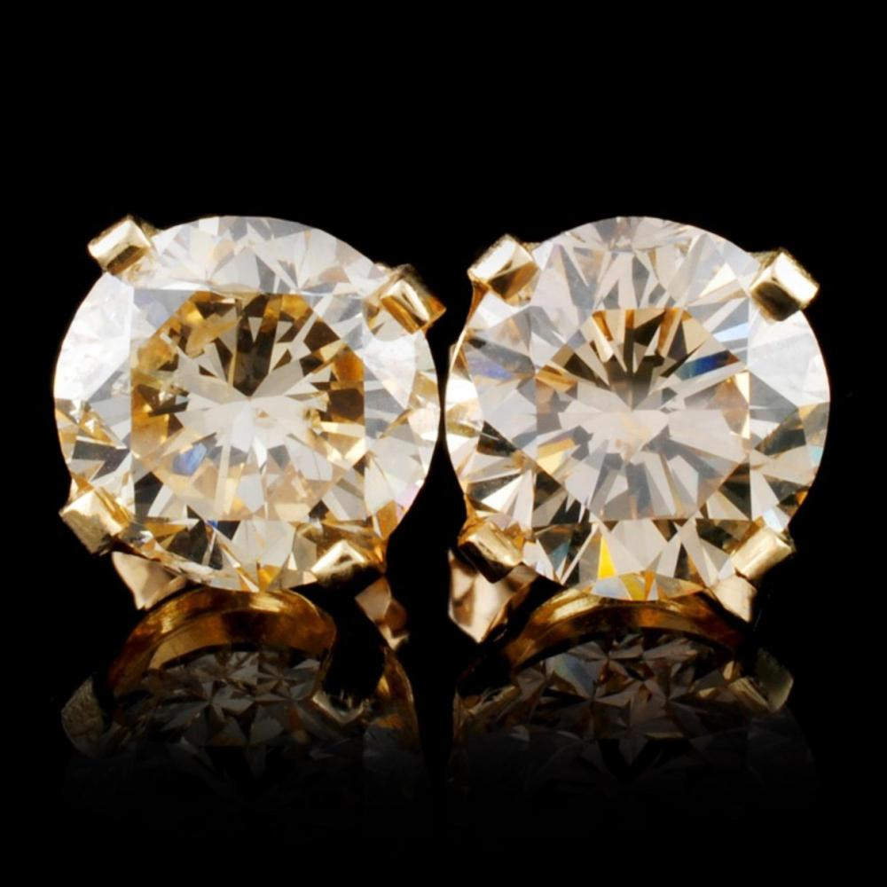 14K Yellow Gold 3.36ct Fancy Color Diamond Earring