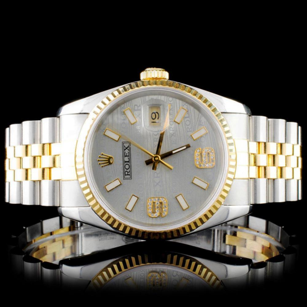 Rolex YG/SS 36MM DateJust Diamond Wristwatch
