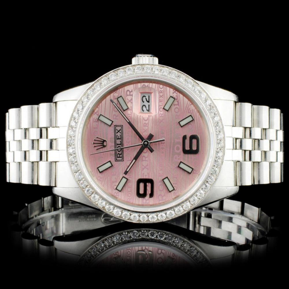 Rolex SS 36MM DateJust Diamond Wristwatch