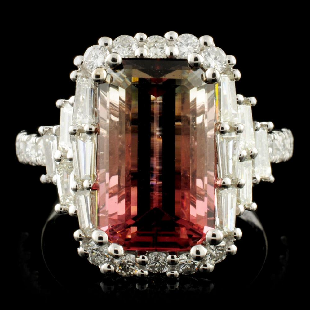 18K Gold 5.34ct Tourmaline & 1.31ctw Diamond Ring
