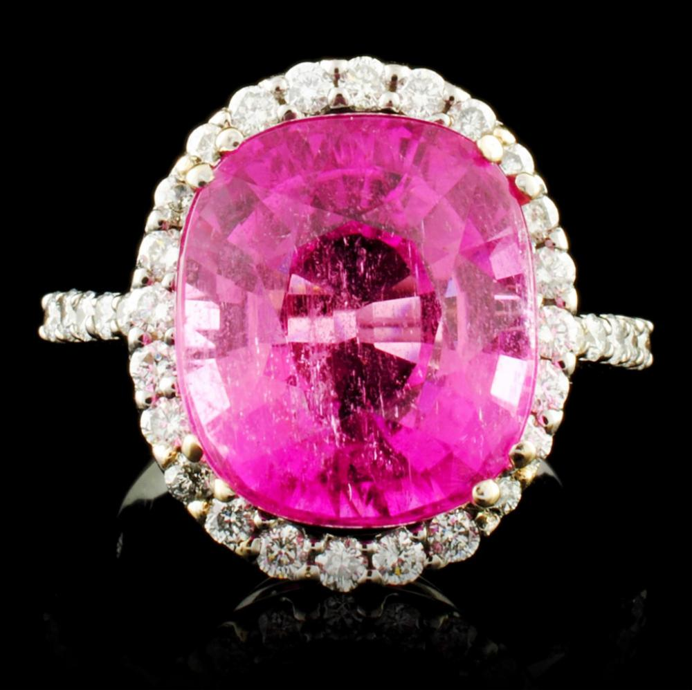 18K Gold 10.87ct Tourmaline & 0.75ctw Diamond Ring