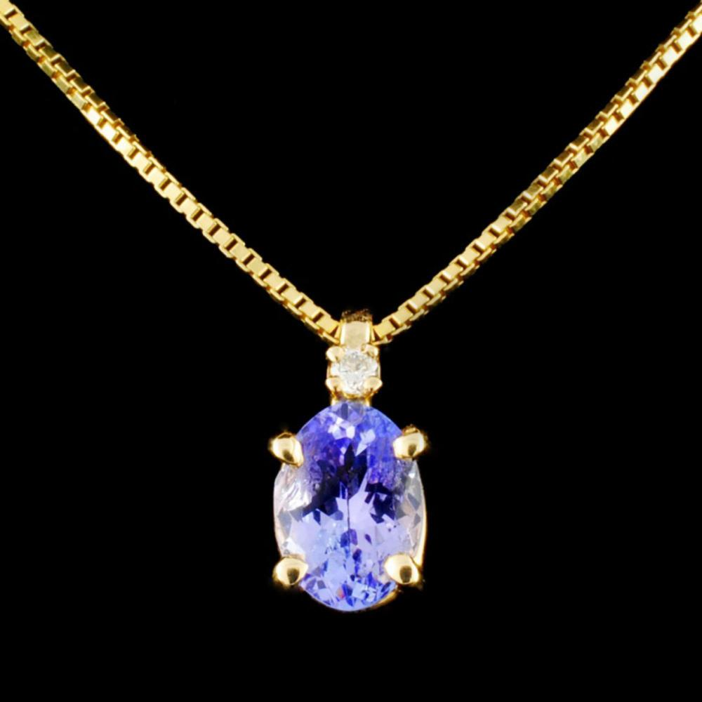 14K Gold 1.17ct Tanzanite & 0.03ctw Diamond Pendan