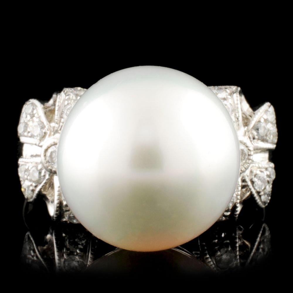 18K Gold 12.00MM Pearl & 0.27ctw Diamond Ring