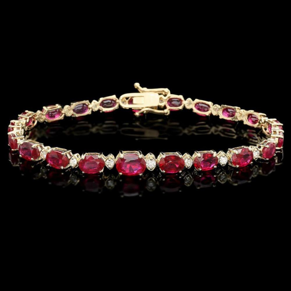 `14k Gold 17.00ct Ruby & 0.70ct Diamond Bracelet