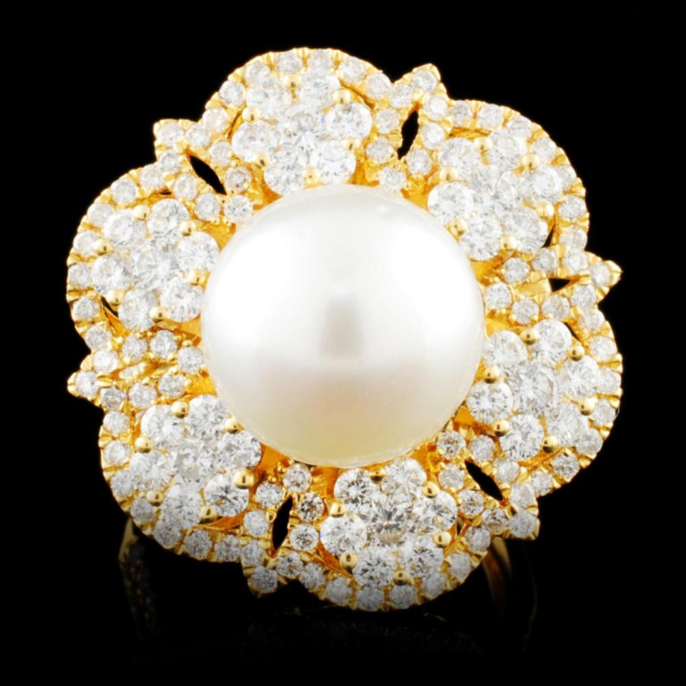 18K Gold 11.50MM Pearl & 2.18ctw Diamond Ring