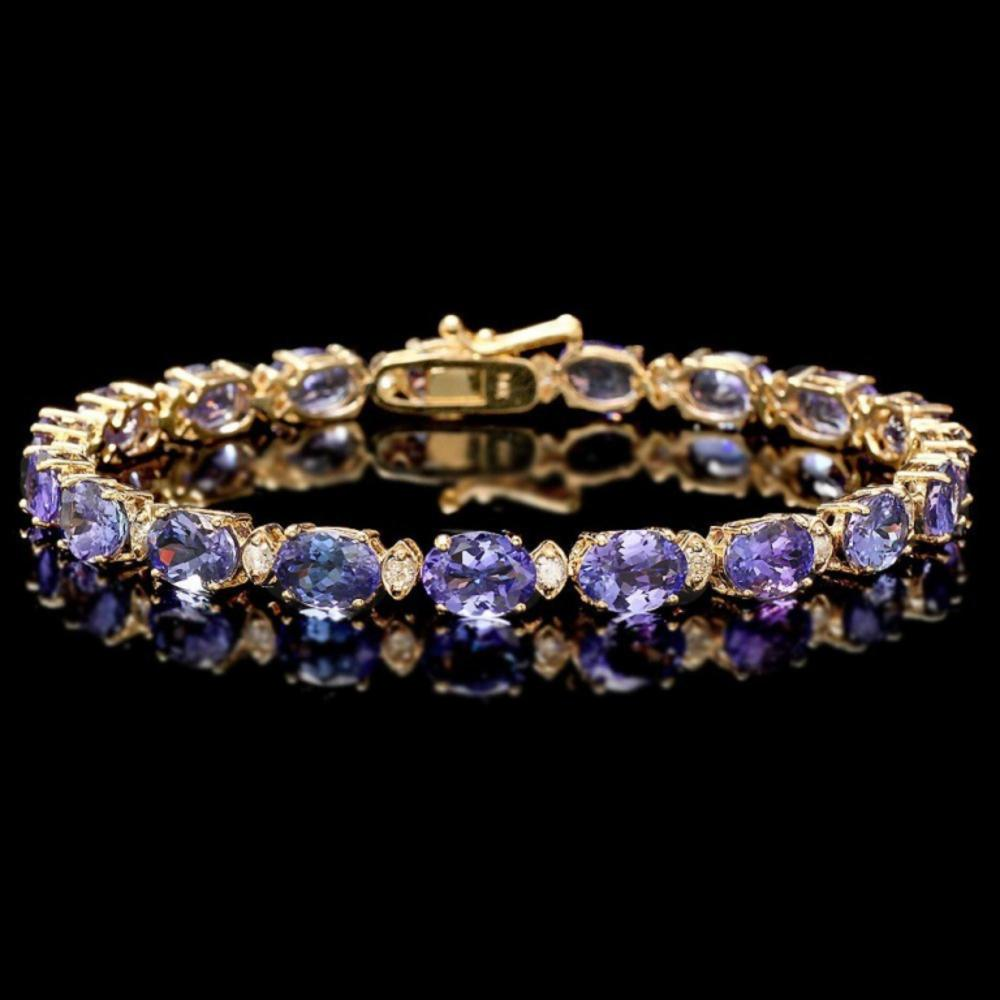 `14k Gold 17.00ct Tanzanite & 0.70ct Diamond Brace