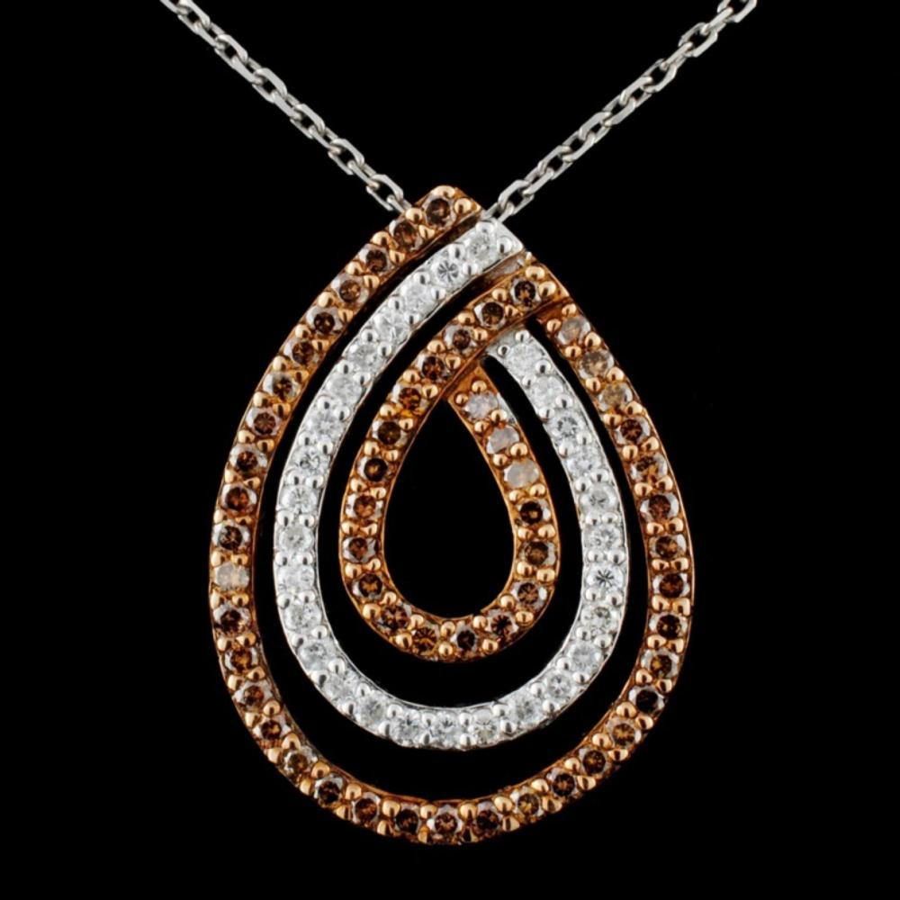 14K Gold 1.06ctw Fancy Diamond Pendant