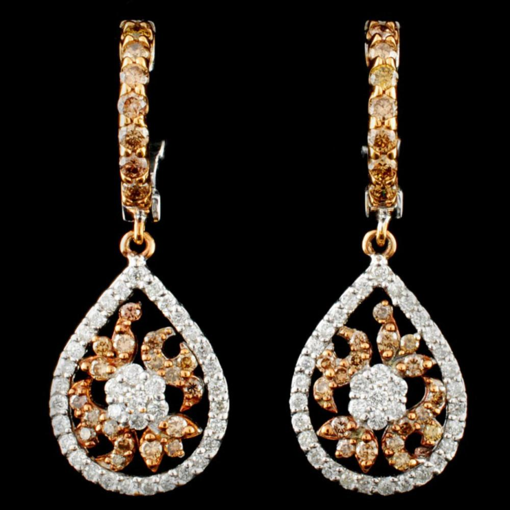 14K Gold 1.07ctw Fancy Color Diamond Earrings