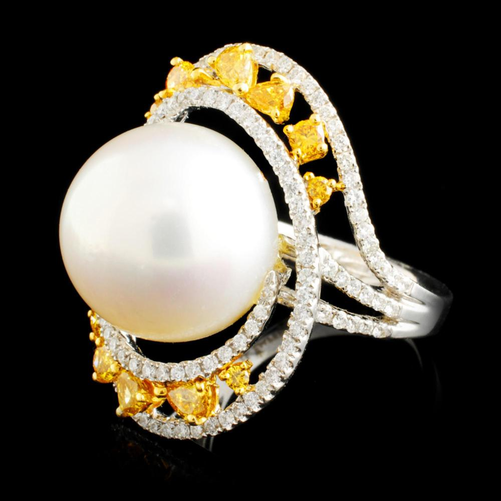 18K Gold 14.00MM Pearl & 1.45ctw Diamond Ring