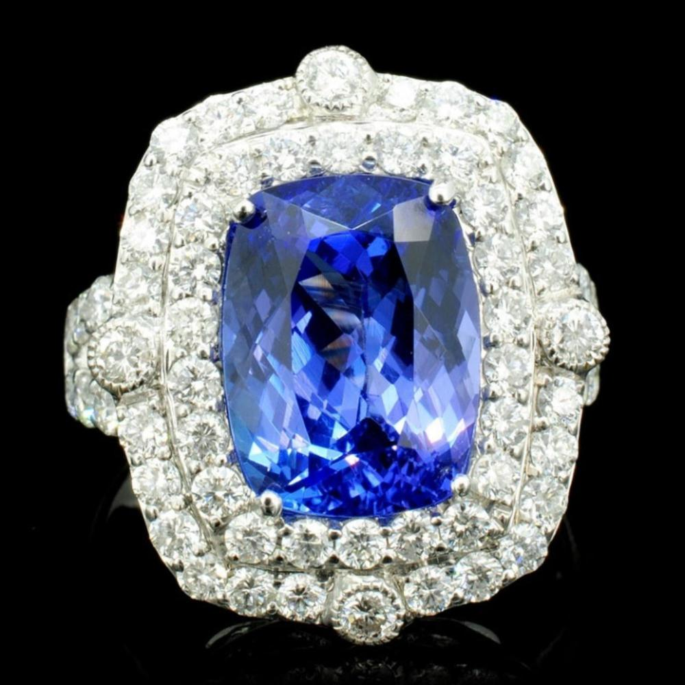 18K Gold 4.85ct Tanzanite & 1.55ct Diamond Ring