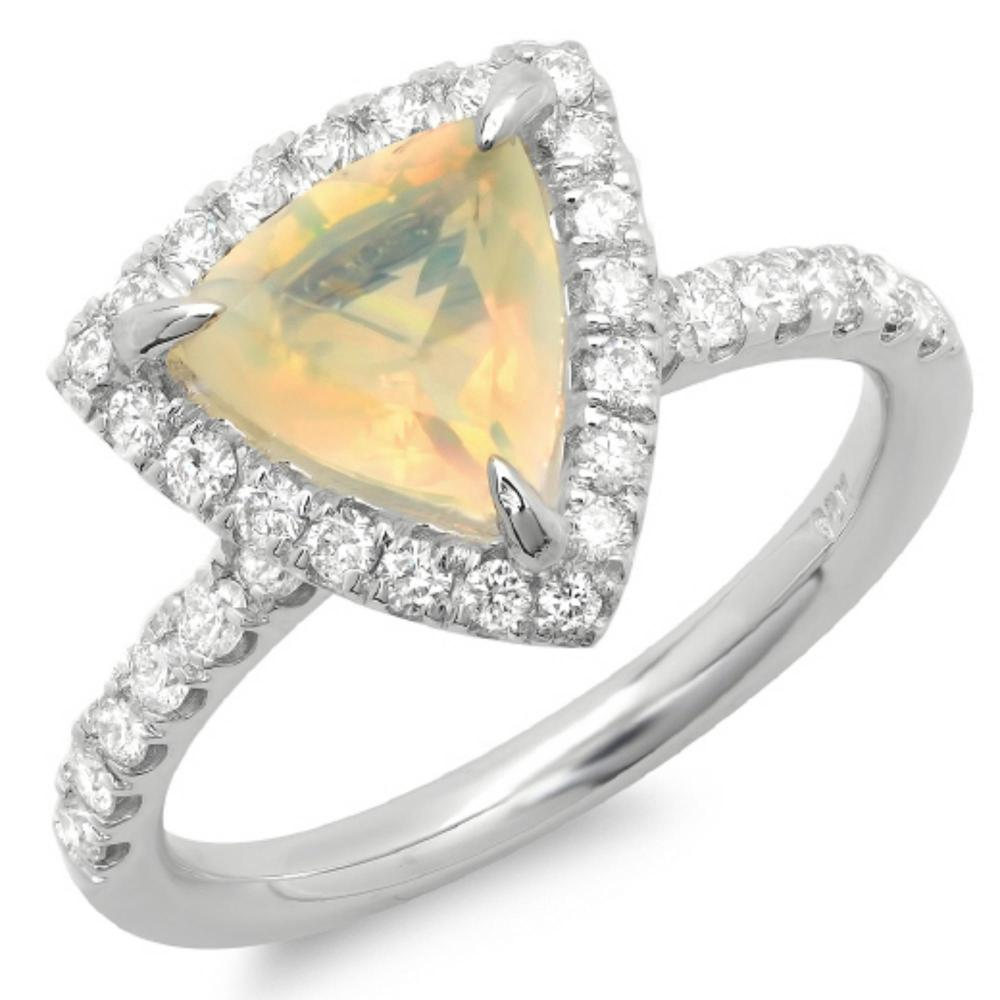 14K Gold 1.00ct Opal & 0.55ct Diamond Ring