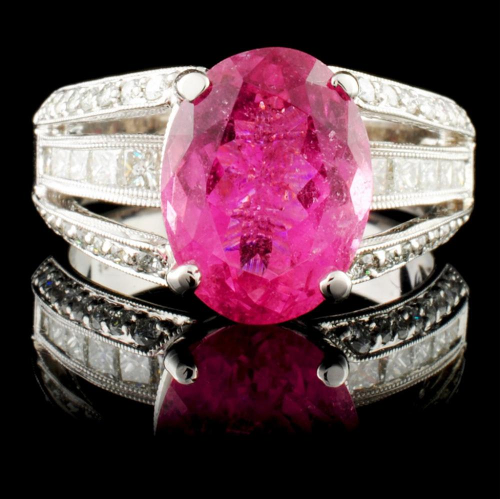 18K Gold 4.60ct Tourmaline & 1.41ctw Diamond Ring
