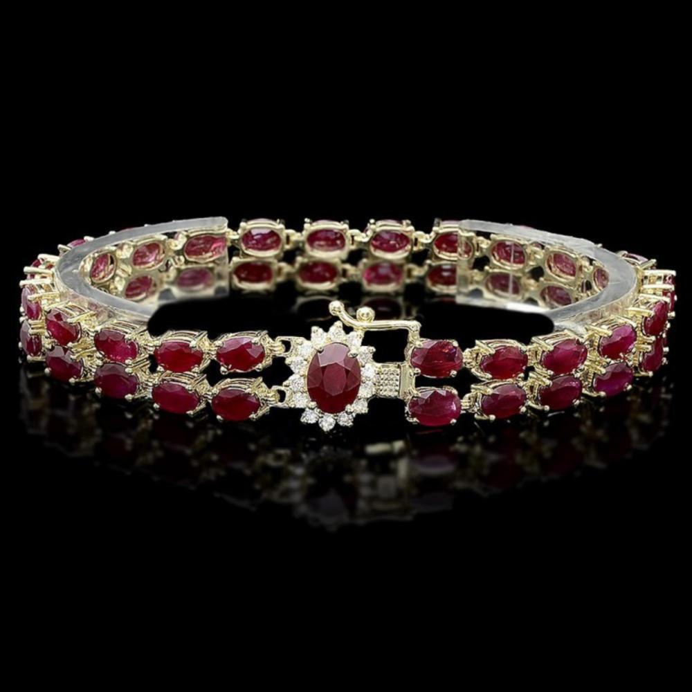 `14k Gold 20.00ct Ruby & 0.50ct Diamond Bracelet