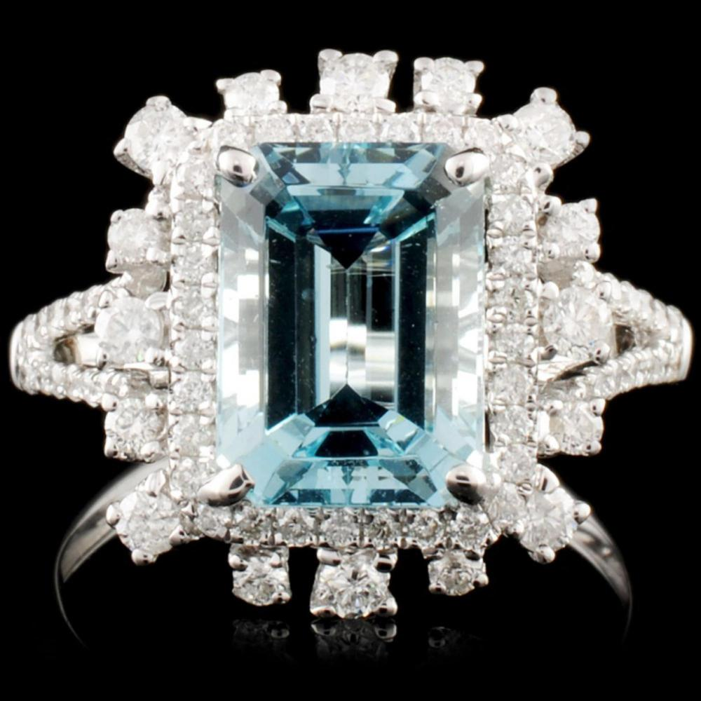 18K Gold 2.98ct Aquamarine & 0.64ctw Diamond Ring