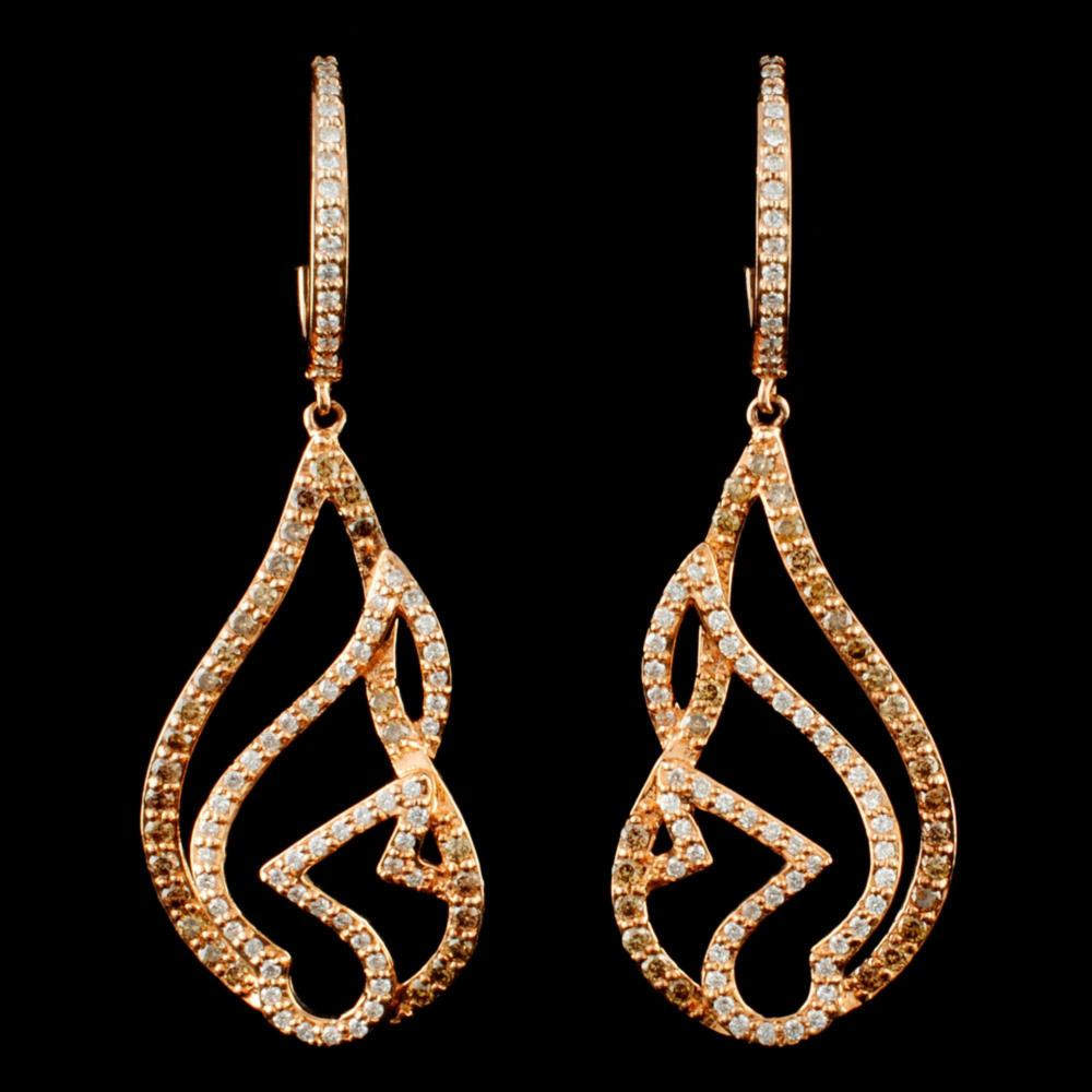 14K Gold 0.89ctw Diamond Earrings