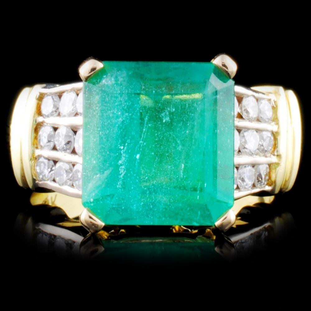 18K Gold 4.65ct Emerald & 0.63ct Diamond Ring