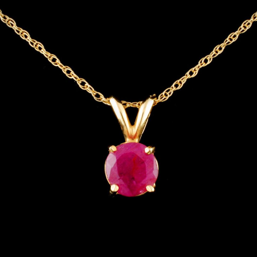 14K Gold 1.00ct Ruby Pendant
