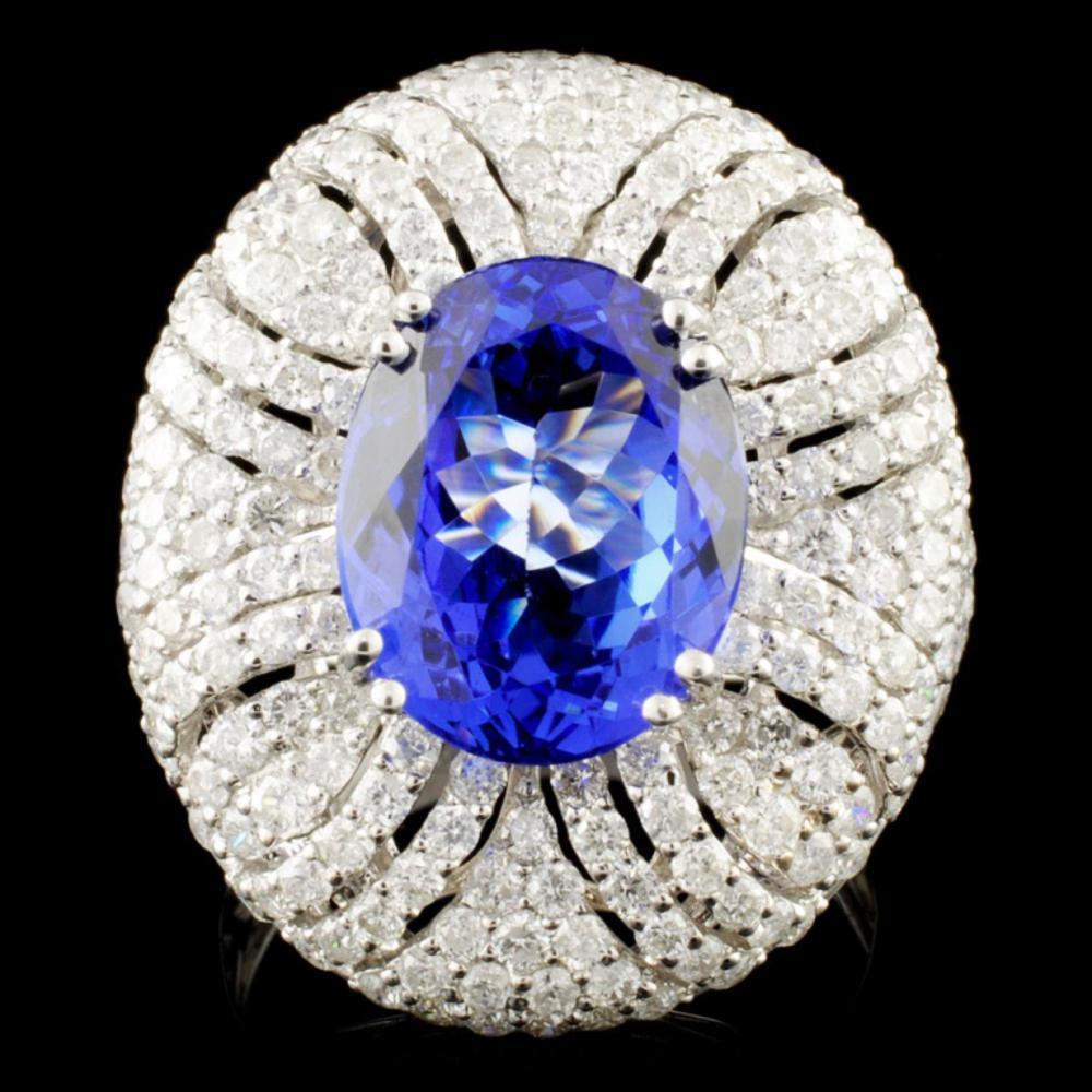 18K Gold 5.56ct Tanzanite & 2.92ctw Diamond Ring