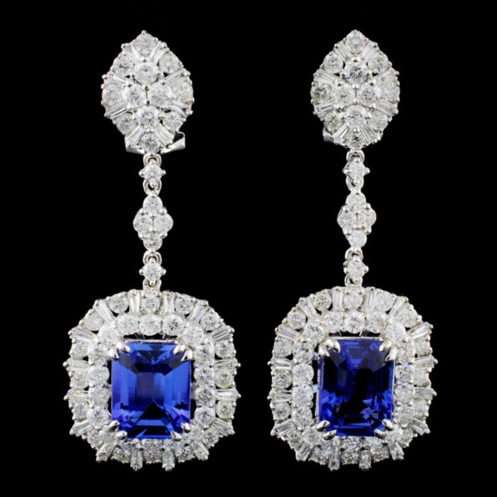 18K Gold 6.13ctw Tanzanite & 3.98ctw Diamond Earri
