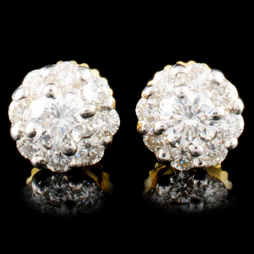 18K Gold 0.90ctw Diamond Earrings