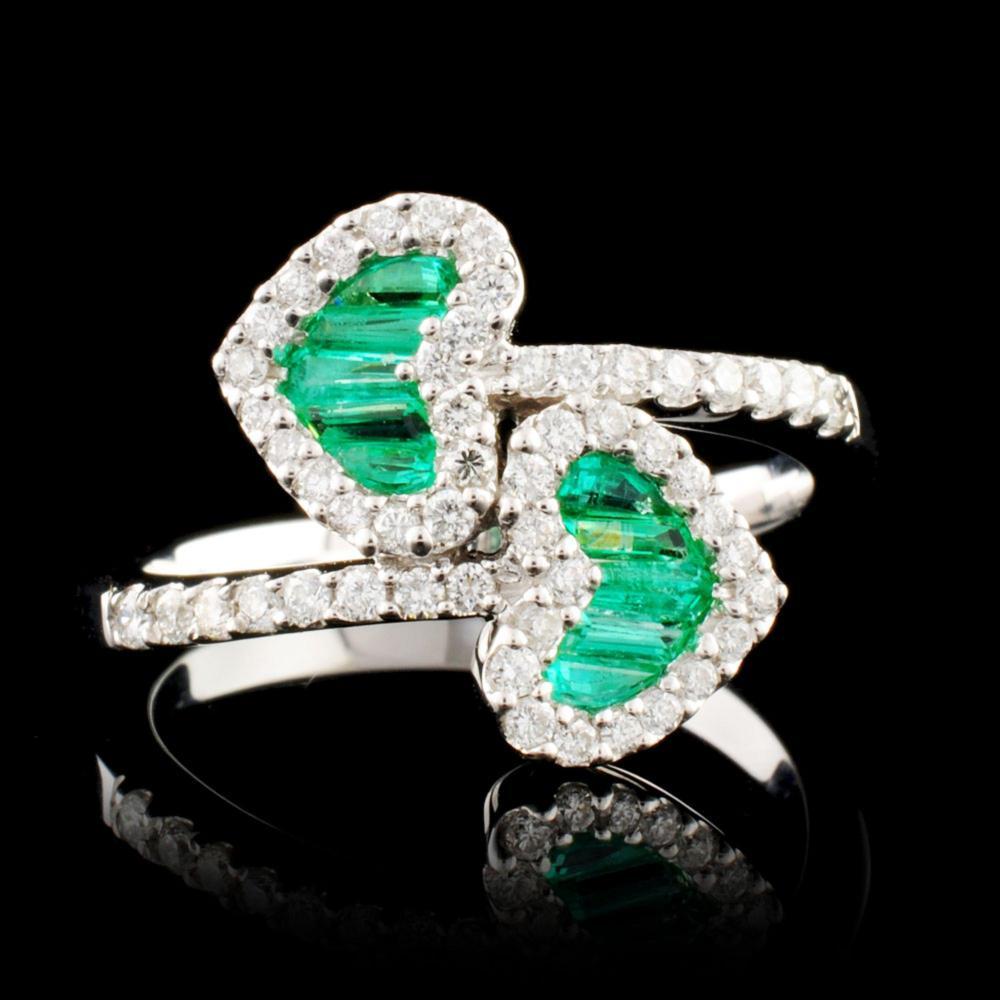 18K Gold 0.81ct Emerald & 0.51ctw Diamond Ring