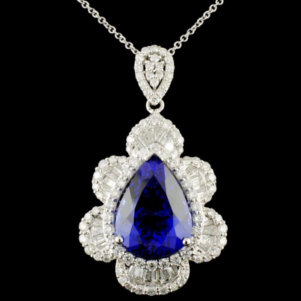 18K Gold 12.07ct Tanzanite & 2.56ctw Diamond Penda
