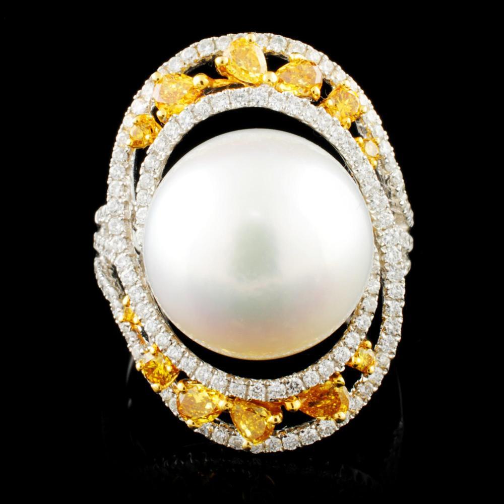18K Gold 14.00MM Pearl & 1.45ctw Diamond Ring