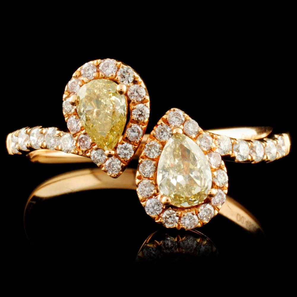 18K Gold 0.76ctw Fancy Diamond Ring