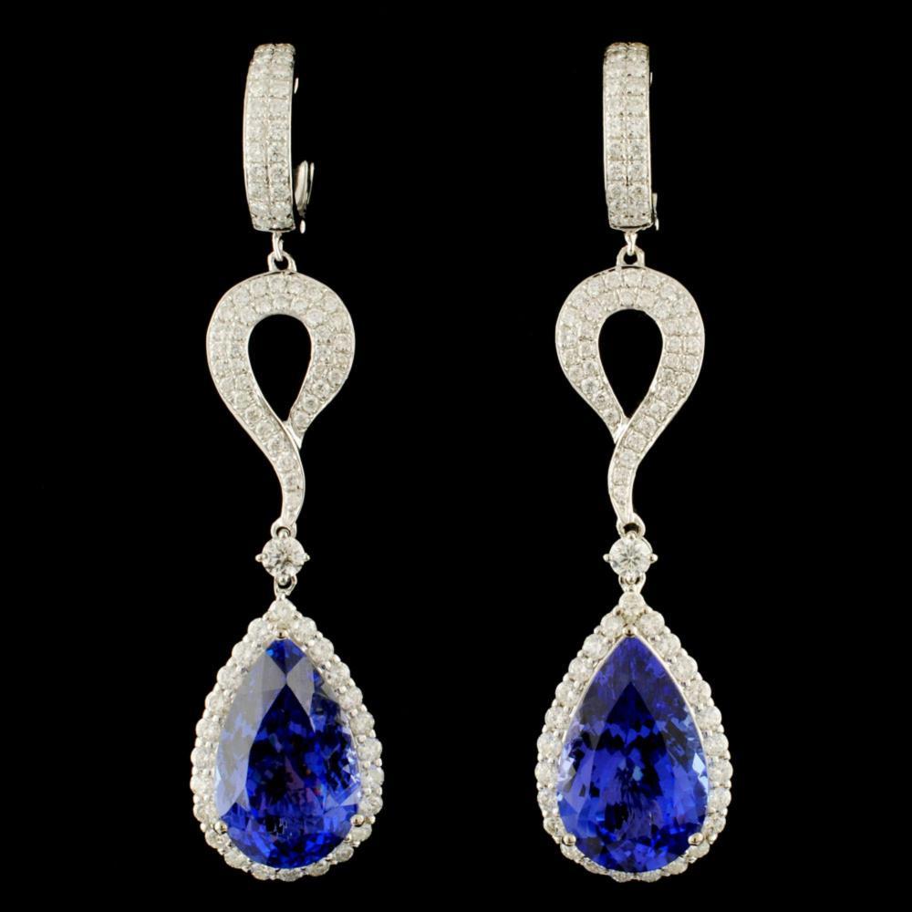 18K Gold 17.66ct Tanzanite & 2.62ctw Diamond Earri