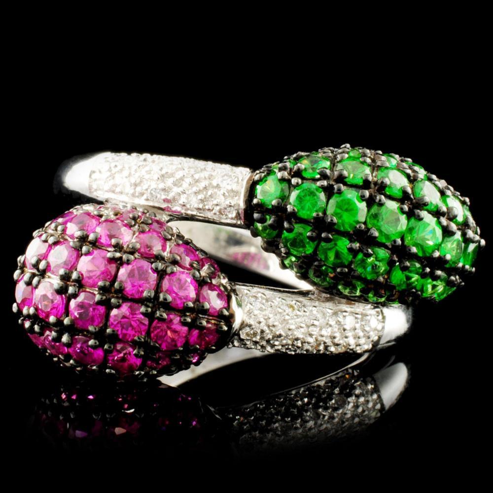 18K Gold 1.14ct Ruby & 0.15ctw Diamond Ring